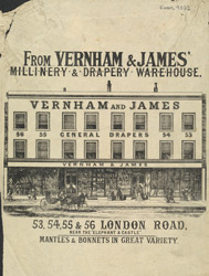 Advert for Vernon & James, millinery & drapery warehouse